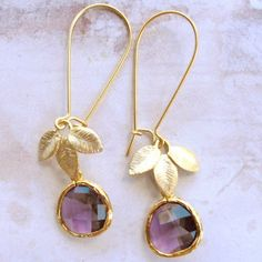 amethyst and gold earrings....love love love