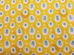 Japanese Fabric Cotton Gauze - flower medallion - yellow
