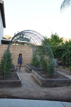 two raised beds with a trellis arch: beautiful design . connect two raised beds with a trellis arch: beautiful design . 62 Affordable Backyard Vegetable Garden Designs Ideas Grow your own produce with and a trellis and raised garden box combo Raised Vegetable Gardens, Raised Garden Beds, Raised Beds, Garden Arbor, Garden Trellis, Garden Landscaping, Easy Garden, Grape Vine Trellis, Pea Trellis
