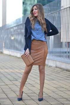 caramel and denim outfit