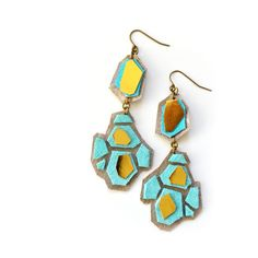 Geometric Leather Earrings Teal Hexagon Faceted Gems Drop Earrings.