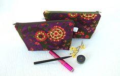 Makeup Bag  Zippered  PUL lined Burgandy by WeaversHomestead, $16.00