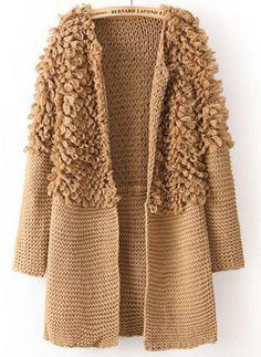 Coffee Long Sleeve Contrast Shaggy Sweater