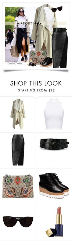 """""""Jet Set: Airport Outfit"""" by grachy ❤ liked on Polyvore featuring Chicwish, WearAll, Iris & Ink, Johnny Loves Rosie, Gucci, Tiffany & Co., Estée Lauder, Olivia Burton, contestentry and airportstyle"""