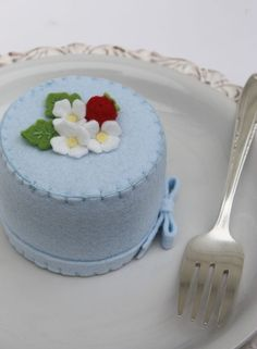 Felt Cake Summer  Blue With Flowers and Strawberries