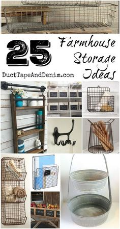 DIY 25 Farmhouse Storage Ideas to organize your kitchen, bathroom, and other areas in your home ! Country Farmhouse Decor, Farmhouse Chic, Farmhouse Design, Rustic Decor, Farmhouse Ideas, Farmhouse Baskets, Rustic Baskets, Rustic Table, Rustic Wood