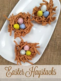 Butterscotch haystacks desserts are perfect Easter nests and so yummy too. A crunchy and creamy peanut butter treat with chocolate eggs in the shape of a bird nest they are a no bake dessert kids can help you make with a delicious butterscotch flavor. Easy Easter Desserts, Easter Snacks, Easter Candy, Easter Brunch, Easter Treats, Easter Cookies, Easter Eggs, Easter Food, Easy Easter Recipes