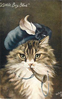 "G.L. BARNES ""little Boy Blue"" Anthropomorphic cat."