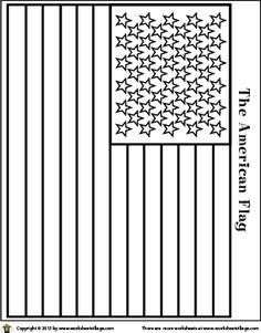 printable flag coloring page line drawing fo an American flag to