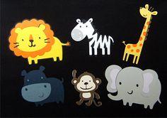 Safari Animal Pack - Lion, Monkey, Elephant, Hippo, Zebra and Giraffe Die Cuts Zoo Birthday, Animal Birthday, Birthday Party Themes, Jungle Animals, Party Gifts, Elephant, Animal Illustrations, Party Ideas, Gift Ideas