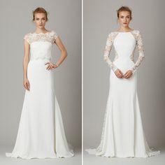 A Lela Rose apostou emtexturas que deram um efeito lindo aos vestidos de noiva, com destaque para as flores em 3D. Dentre os lisos, chama atenção o modelo