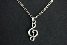 Sterling Silver 27mm Treble Clef with 7.5 Charm Bracelet Jewels Obsession Treble Clef Pendant
