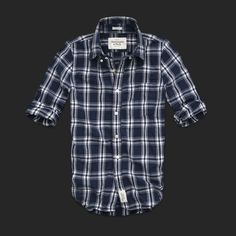 Men Abercrombie & Fitch Fitch Plaid Shirts Navy White