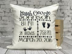 Personalized Pillow  Keepsake Pillow  New Baby Gift  Birth