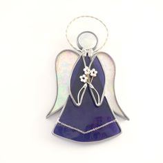 Purple Stained Glass Angel Suncatcher picture only