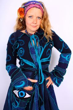 Recycled Sweater by Katwise  Extra Long Blue Eyeball by katwise, $555.00