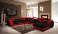 Vig Furniture Divani Casa 7395 Modern Red and Black Leather Sectional Sofa with Headrests Black And Red Living Room, Red Couch Living Room, Red Living Room Decor, Feature Wall Living Room, Living Room Designs, Living Room Furniture, Living Rooms, Couch Furniture, Sofa Design