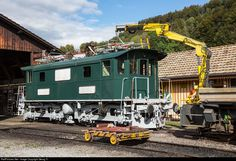 """Former Bodensee-Toggenburg-Bahn locomotive Be 4/4 # 15 from 1931, since 1988 owned and operated by association Dampfbahn Verein Zürcher Oberland (DVZO), got a revision of the electric part and new paint since october 2012. Today the second pantograph was installed again and afterwards the locomotive made a test run to Wald and back with the five """"AMOR EXPRESS"""" cars as load. Some minor works have to be done till the official second maiden run the next saturday."""