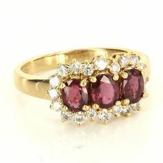 Vintage 14 Karat Yellow Gold Ruby Diamond Trilogy Ring $695