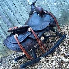 Doing our best to give old saddles a new job ~FX Saddle Company (Vintage saddle rocker) Western Chic, Western Decor, Vintage Cowboy Nursery, Flea Market Decorating, Decorating Ideas, Kate Baby, Barn Wood Decor, Bucking Bulls, Bicycles For Sale