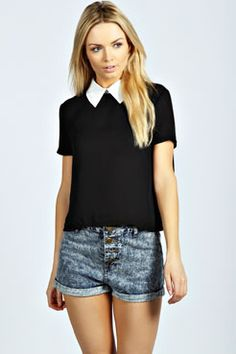 It's time to push the boundaries with the basics. On-trend boxy shape, timeless colours - Amelia Contrast Collar Blouse at boohoo.com