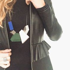 DETAILS  #leather #peplum #statement #necklace #gummy #COS #zara #love #ootd #outfit #fashion #black #blonde #instagood #miraclesbyac #ring #igers