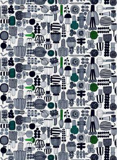 Marimekko table cloth  Puutarhurin parhaat -vahakangas (kitti,vihreä,musta)  Kankaat, Vahakankaat   Marimekko