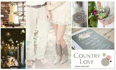 Our inspiration board for all those country fans and those in love with cowboy boots and twinkle lights in barns ... enjoy! ❤