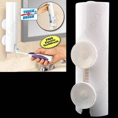 Touch N Brush Bathroom Hands Free Toothpaste Tube Dispenser Squeezer With Silicon Mouth and Dual Suction Cup  Cover HLI-25606