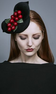 Rachel Trevor Morgan Millinery Autumn Winter 2016 Black velour mini felt pillbox with felt petals and berries (R16W12)