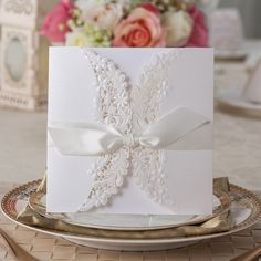 80 Pcs Pure White Lace Wedding Invitation With Ribbon Bow: Print Your Invite Wording on Inserts - Ship Worldwide 3-5 Days - Set of 80