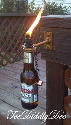 How To Make Wiki/Tiki Torch Out of Recycled Glass Wine,Beer,Soda Bottles With Clever Wick Holder - TeeDiddlyDee