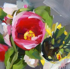 Tulips and Daffodils original still life floral oil painting by Angela Moulton