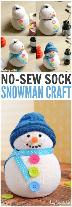 DIY No-Sew Sock Snowman Craft for Kids and Grownups. Such a fun DIY Gift Idea snowman crafts No-Sew Sock Snowman Craft Sock Snowman Craft, Snowman Crafts, Santa Crafts, Easy Diy Crafts, Fun Crafts, Fun Diy, Sock Crafts, Clever Diy, Decor Crafts