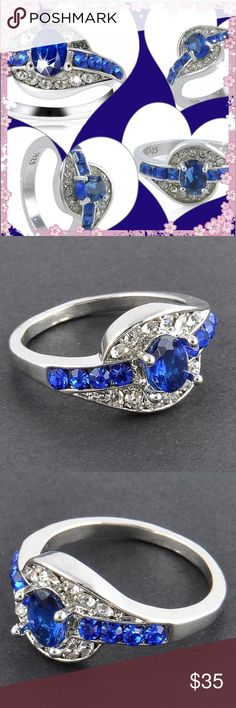 NWT/RETAIL Women's blue / Silver sapphire ring Women's Blue Sapphire White Gold plated Engagement Ring Jewelry in Size 7 8 9. Read below for availability.   100% brand new in retail packaging. Gift box given upon request.  (Yes, I have different color boxes, too. Upon availability)  Material: Alloy + Crystal US Size: 7 8 9  Package included: 1 x Ring- in jewelry bag.  All PoshMark Sales final. Please ask questions before purchase, if needed. U COUTURE Jewelry Rings