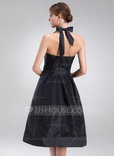 a3abd505e390e A-Line Princess Halter Knee-Length Taffeta Organza Bridesmaid Dress With  Ruffle Bow(s) (022021137)
