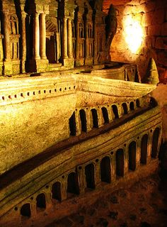 catacombs, Paris    this was carved into the wall by a quarry worker who was then crushed when he tried to dig another access tunnel to it #travel
