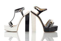 5034e75b20cf Vicini Black and white nappa leather high block heel platform sandals  designed by giuseppe zanotti. Fratelli Karida