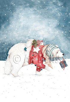 an melis illustrator Christmas Animals, Christmas Books, Christmas Love, Christmas Pictures, Winter Christmas, Christmas Crafts, Illustration Inspiration, Illustration Noel, Winter Illustration