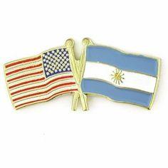 USA & Argentina Flag Pin . $3.95
