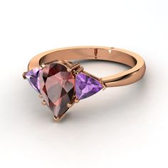 Pear Red Garnet with Amethyst : Madeline Ring