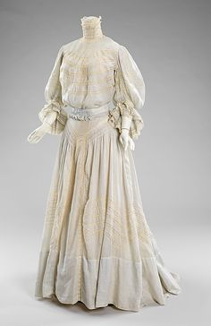Dress  Date: ca. 1905 Culture: French (probably) Medium: cotton.  Credit Line: Brooklyn Museum Costume Collection at The Metropolitan Museum of Art, Gift of the Brooklyn Museum, 2009; Gift of Mrs. Frederick H. Prince, Jr., 1967.  I love this dress, it is SO elegant.  I could most definitely cuddle with this dress!!!