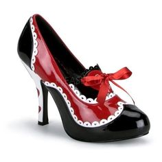 Funtasma Women's 'Queen-03' Patent Queen of Hearts Pumps ($66) ❤ liked on Polyvore featuring costumes, adult women halloween costumes, queen of hearts costume, sexy women halloween costumes, womens costumes and queen of hearts halloween costume
