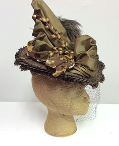 Lizzie Borden Chronicles Hat worn by Christina Ricci, trimmed in silk taffeta and vintage trims.