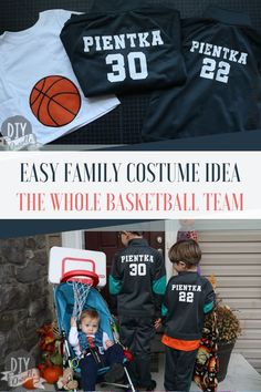 Dress up as the whole basketball team. This easy family costume idea is perfect for a large family. Team Halloween Costumes, Team Costumes, Family Halloween Costumes, Diy Costumes, Halloween Kids, Basketball Teams, Cosplay, Children, Easy