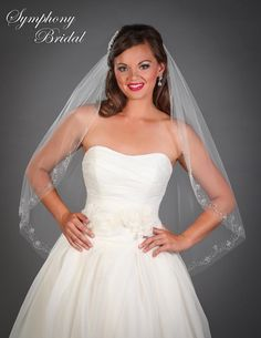 Delightful! Beaded Fingertip Wedding Veil 6507VL by Symphony Bridal - Affordable Elegance Bridal -