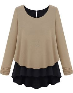 Contrast Chiffon Hem Loose Khaki Sweater 14.67