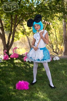 Imagination is the only weapon in the war against reality.  Features: Elope Flamingo Hat, Anime Clip-On Wig in Blue, Oversized Anime Bow (elope, inc)  http://www.elope.com/  2016 catalog photos by Free Spirit Colorado