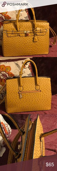 8528fd5fe69ff OSTRICH SKIN BERK INSPIRED Gold toned ostrich skin satchel with two large  compartments