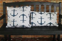 Cream and Navy Anchor Decorative Pillows by UggsBugsandTuTus, $15.00
